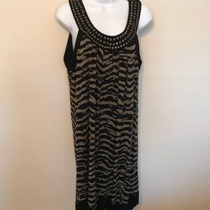 Michael Kors Green Black Zebra Bonze studded dress